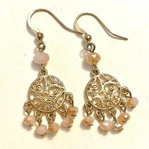 Pink gold dangle earrings